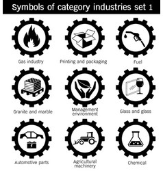 symbols of category industries set 1 vector image vector image