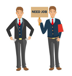 unemployed man with cv need job and money vector image vector image
