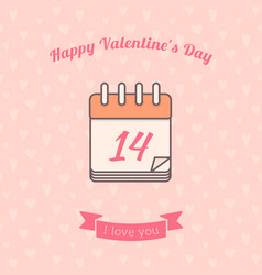 14 date calendar st valentine day holiday vector image