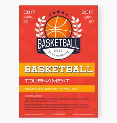 basketball tournament poster vector image
