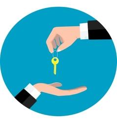 Hand giving key vector
