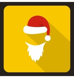 Hat and white beard of Santa Claus icon vector image vector image