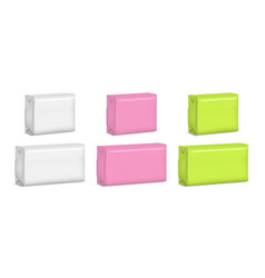 realistic template blank color soap pack set vector image vector image