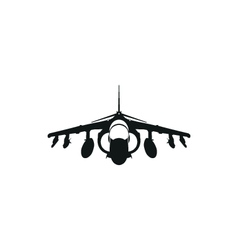 Simple black fighter jet icon on white background vector