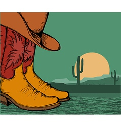 western background with cowboy shoes and desert vector image