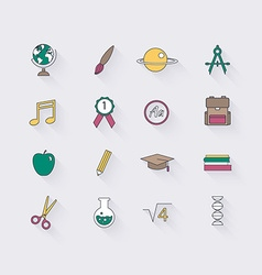 Line icons set in flat design Elements of School vector image