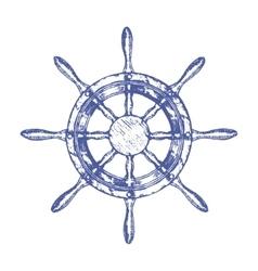 Ship Steering Wheel Hand Draw Sketch vector image