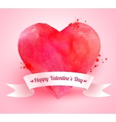 Valentine heart with ribbon banner vector image vector image