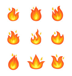 burning fire set of icons vector image