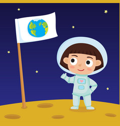 cute little happy girl astronaut standing on moon vector image vector image