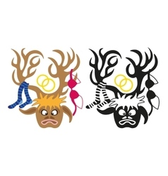 deer with wedding decorations on its horns vector image vector image