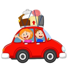 Family cartoon traveling with car vector image vector image