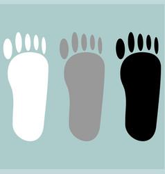 footprint white grey black icon vector image