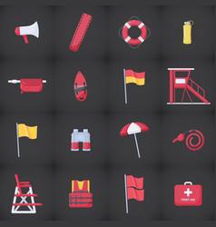 lifeguard equipment kit flat icons set vector image