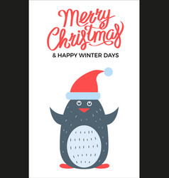 merry christmas penguin on vector image vector image