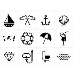 Summer sea icons set vector image