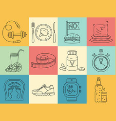 weight loss diet icons set fitness and health vector image