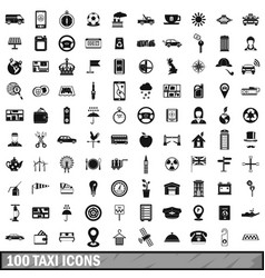 100 taxi icons set simple style vector