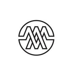 A m m letter circle lines logo design vector