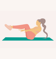 A woman doing abs over exercise mat vector
