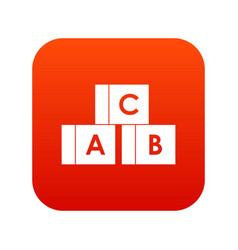 alphabet cubes with letters abc icon digital red vector image