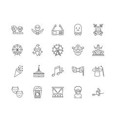 amusement park line icons signs set vector image
