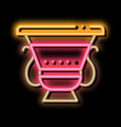 Ancient greek feast bowl neon glow icon vector