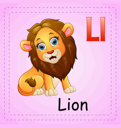 animals alphabet l is for lion vector image