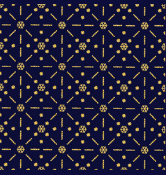 blue christmas pattern background with golden vector image