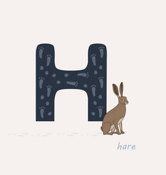 blue letter h with hares vector image