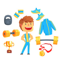 bodybuilder muscular man set for label design vector image