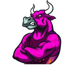 Bull face in human body vector