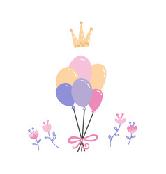 bunch multicolor balloons with crown and vector image