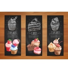 Cake cupcake fruit dessert menu posters design vector
