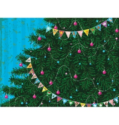 Christmas tree with garland vector image