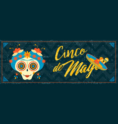 Cinco de mayo mexican sugar skull web banner art vector