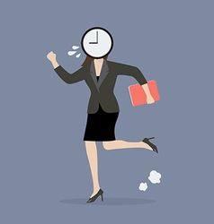 Clock head business woman running in suit vector image