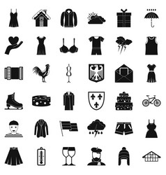 clothing accessories icons set simple style vector image