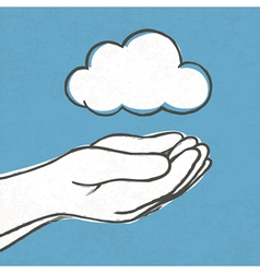 cloud with hands vector image