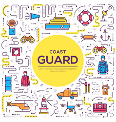 Coast guard day outline icon vector