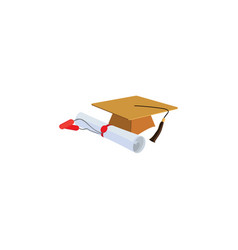 color image students cap and diploma vector image