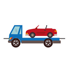 color silhouette with tow truck vector image
