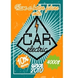 Color vintage electric car poster vector image