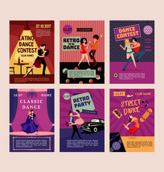 colorful dancing people posters vector image vector image