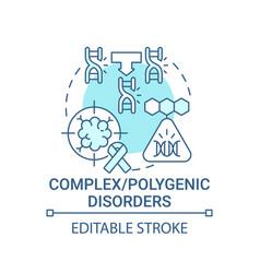 Complex polygenic disorders blue concept icon vector
