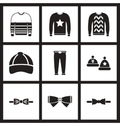 Concept flat icons in black and white men wear vector