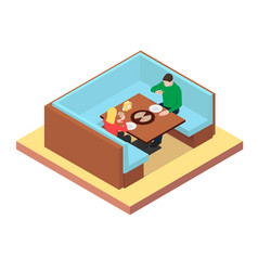 couple are sitting at a table and eating pizza vector image