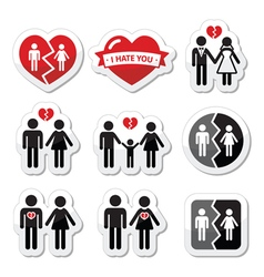 Couple breakup divorce broken family icon vector