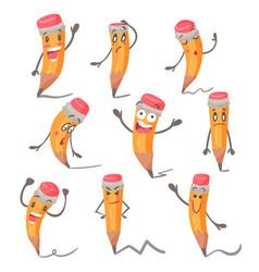 cute cartoon pencil character facial expressions vector image