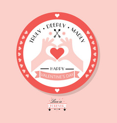 cute pink happy valentines day emblem and badge vector image